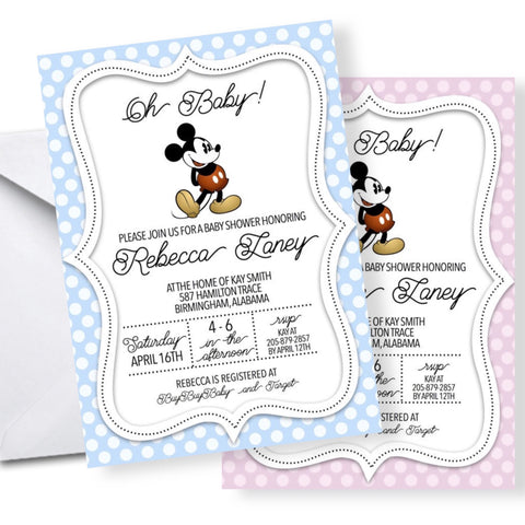 Baby Shower Invitation Featuring Vintage Mickey Mouse