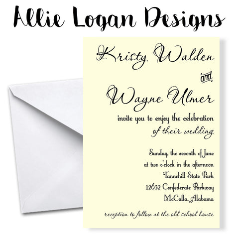 Calligraphy and Typography-Inspired Wedding Invitations