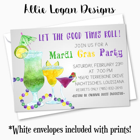 Mardi Gras Cocktail Party Custom Invitation