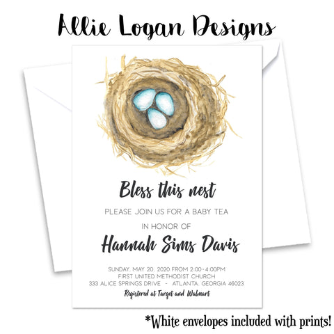 Bless This Nest Baby Shower Invitation - Personalize Your Nest