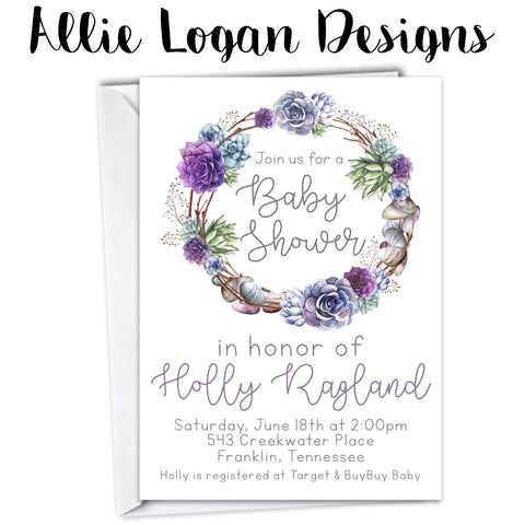 Sweet as Succulents Baby Shower Invitation