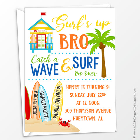 Surf's Up Custom Birthday Invitations