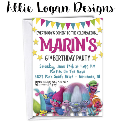 Trolls-Inspired Celebration Invitation