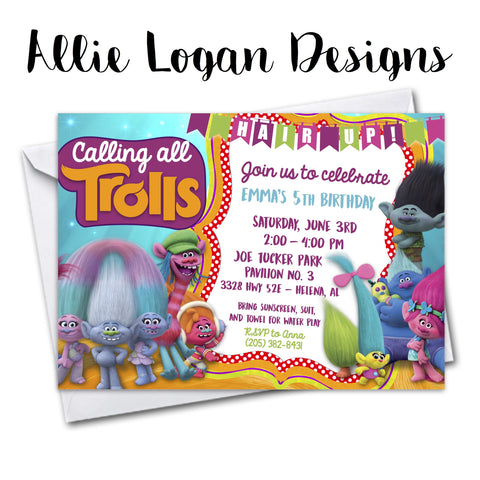 Trolls-Inspired Invitation...Hair Up!