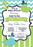 Whales and Anchors Away Baby Shower Invitation