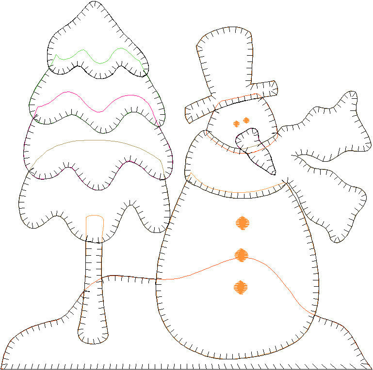 Snowman & Tree Embroidery File