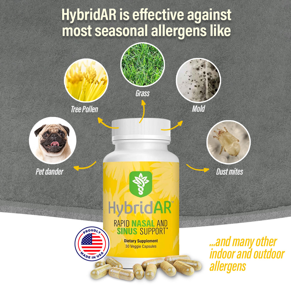 HybridAR Rapid Nasal & Sinus Support 30 Capsules – All-Natural Pharmacist Formulated to Support Seasonal Allergies - Gluten-Free, Non-GMO, Vegan