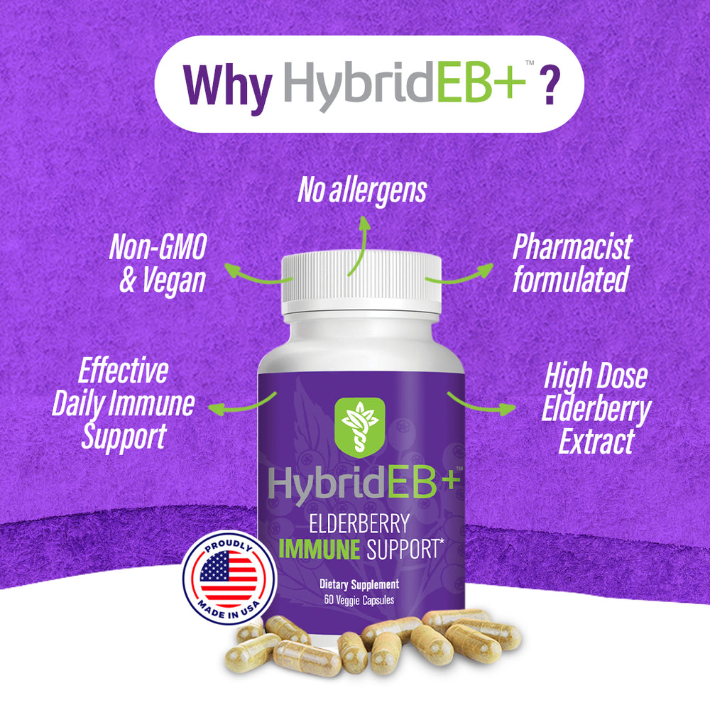 Hybrid Remedies Immunity Bundle-HybridCR Rapid Immune Defense 30 Caps PLUS HybridEB+ Immune Support 60 Caps with Elderberry, Zinc, Oregano, Vitamin C