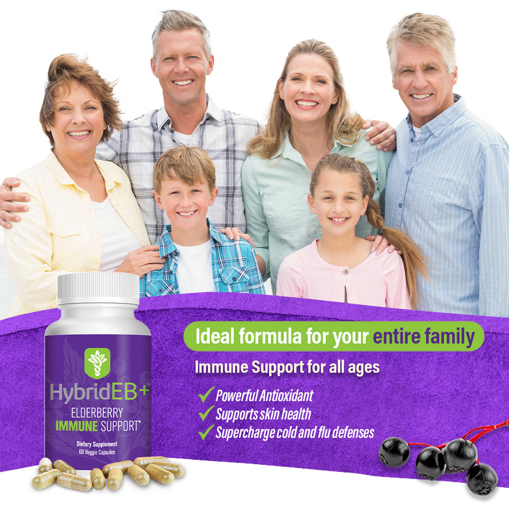 Load image into Gallery viewer, HybridEB+ Complete Elderberry Immune Support 60 Capsules with Zinc, Oregano, Vitamin C - Pharmacist Formulated, All Natural, Gluten-Free, Non-GMO