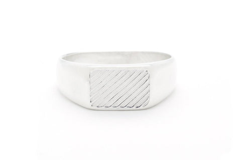 Diagonal Signet Silver Ring