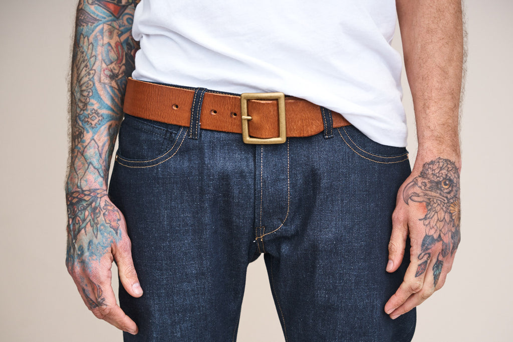 Levi's LVC Square Belt Buckle Brown Leather