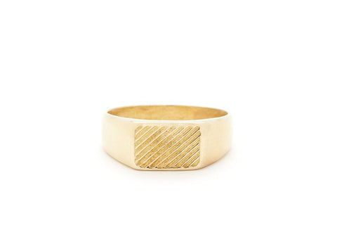 Diagonal Signet Brass Ring