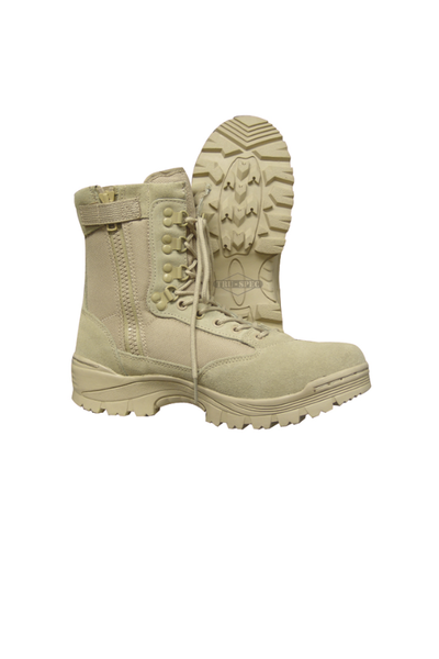 tru-spec tactical boots tan with side zip - Tactical-Canada