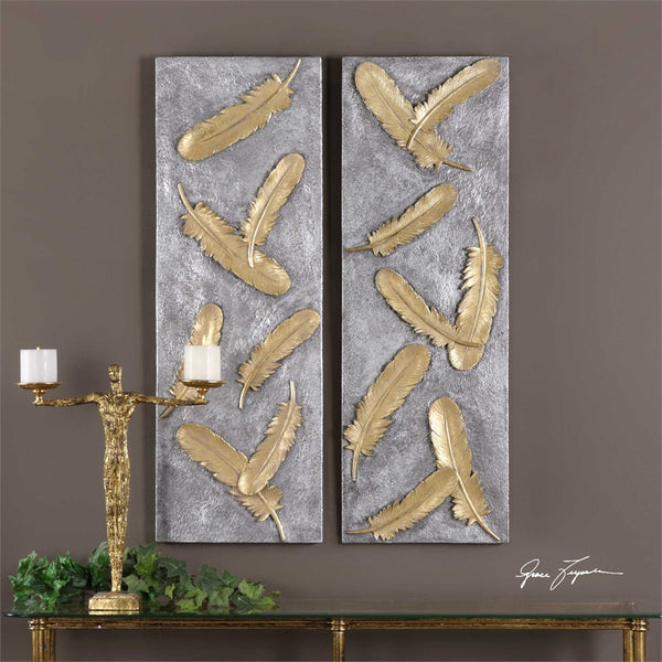 Uttermost Falling Feathers Gold Wall Art Set/2 - ModelDeco