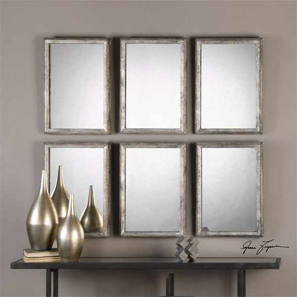 Uttermost Alcona Antiqued Silver Mirrors S/3 - ModelDeco
