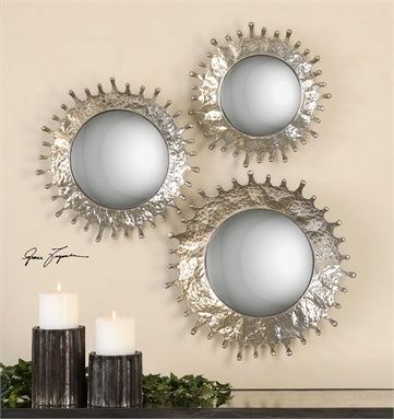 Uttermost Rain Splash Round Mirrors, S/3