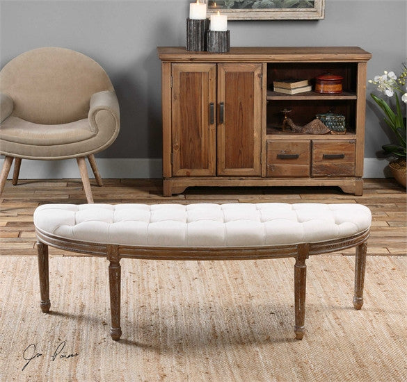 Uttermost Leggett Tufted White Bench  BO TILL 1-3-17 - ModelDeco