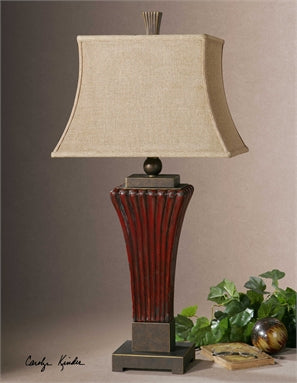 Uttermost Rosso Ribbed Ceramic Lamp