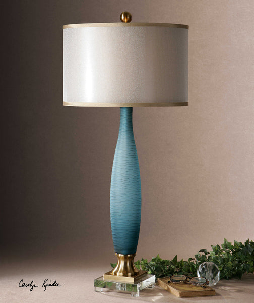 Uttermost Alaia Blue Glass Table Lamp - ModelDeco