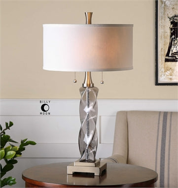 Uttermost Spirano Gray Glass Table Lamp