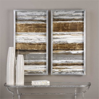 Uttermost Metallic Layers Modern Art S/2 - ModelDeco