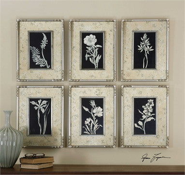 Uttermost Glowing Florals Framed Art, S/6 - ModelDeco