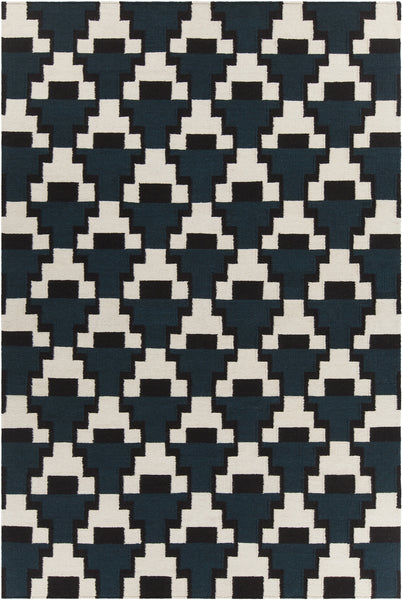 Avon Blue/ Black/ White  Hand-Woven Contemporary Flatweave Rug - ModelDeco