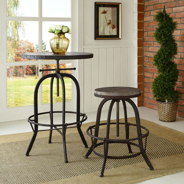 Collect Wood Top Adjustable Bar Stool - ModelDeco