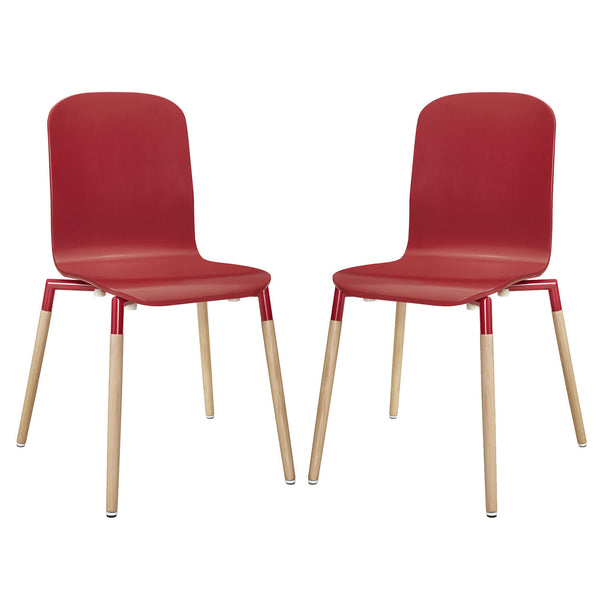 Stack Dining Chairs Wood Set of 2