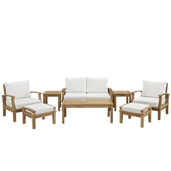 Marina 8 Piece Outdoor Patio Teak Sofa Set