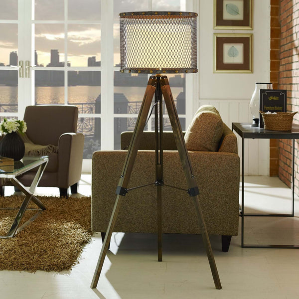 Fortune Modern Floor Lamp with Fabric Drum Shade - ModelDeco
