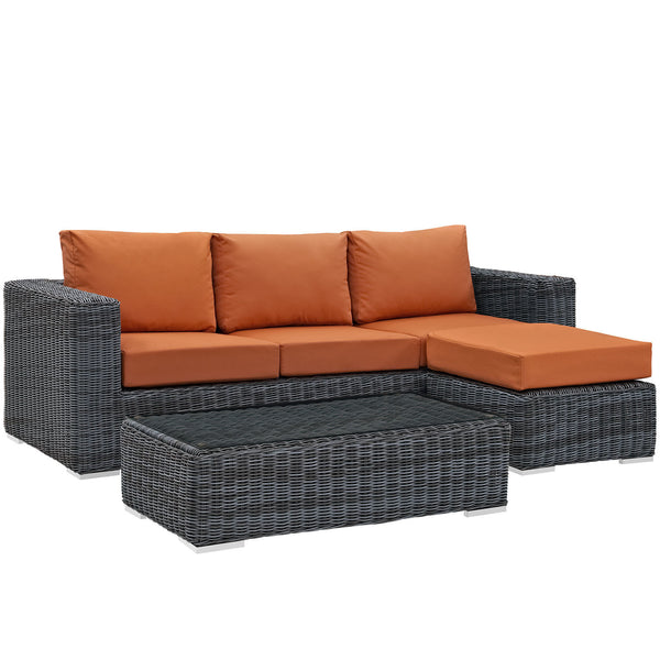 Summon 3 Piece Outdoor Patio Sunbrella® Sectional Set