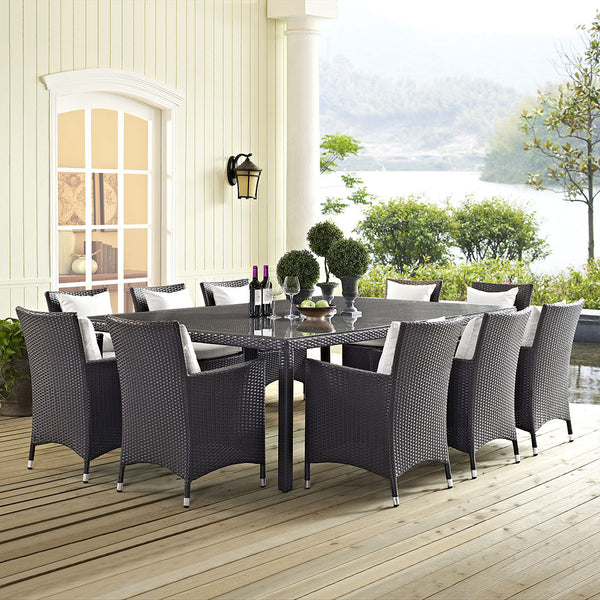 "Rattan Weave 90"" Outdoor Patio Dining Table - ModelDeco"