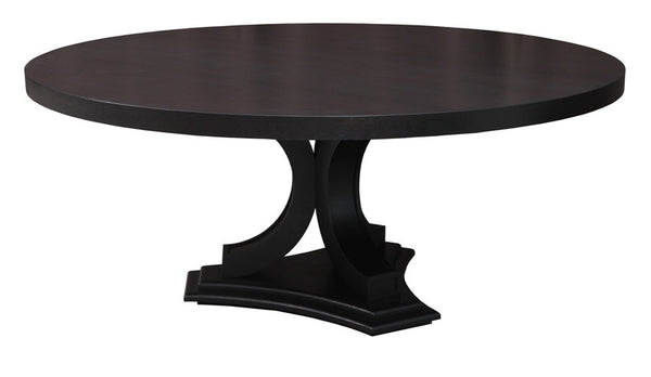 Large 72 inch Round Dining Table in Ebony and Weathered Oak | Madison - ModelDeco