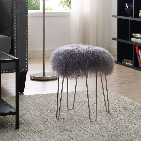 Zelda Grey Sheepskin Bench