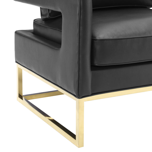 Avery Black Leather Chair - ModelDeco