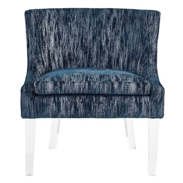 Myra Blue Textured Velvet Chair - ModelDeco
