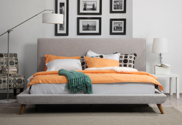 Nixon Grey Linen Bed in Queen - ModelDeco