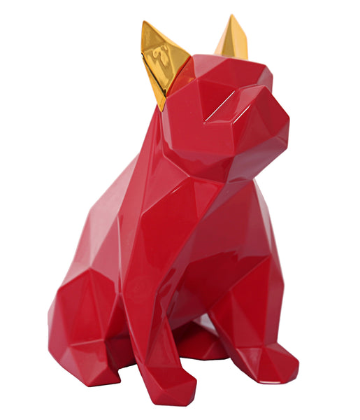 Mans Best Friend Sculpture - Red and Gold - ModelDeco