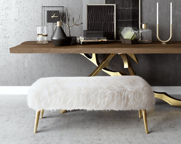 Churra White Sheepskin Bench - ModelDeco