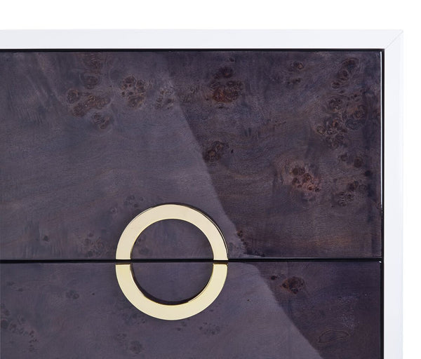 CAVALLI LACQUER GREY BURL SIDE TABLE