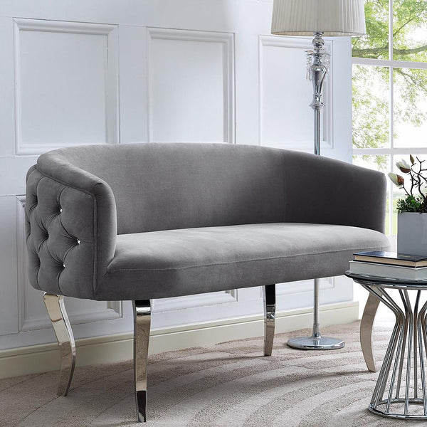 Adina Grey Velvet Loveseat with Silver Legs - ModelDeco