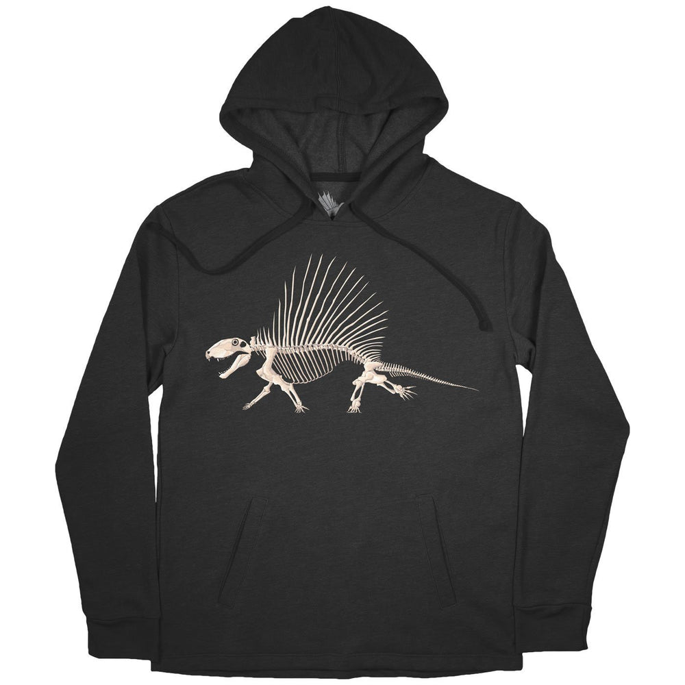 Dimetrodon Bonebed™ Adult Synapsid Hoodie Heather Black - Permia