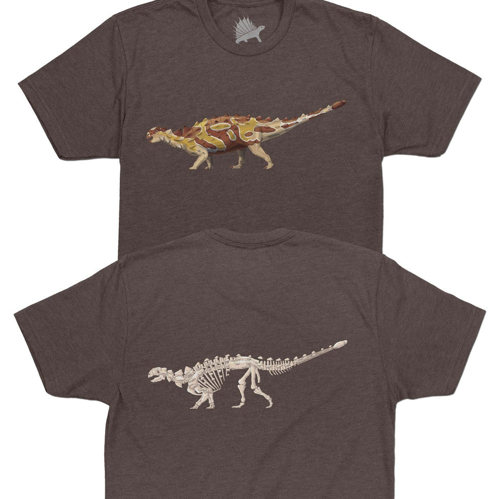 Euoplocephalus Fossil Fusion™ Adult Dinosaur T-Shirt Coffee - Permia
