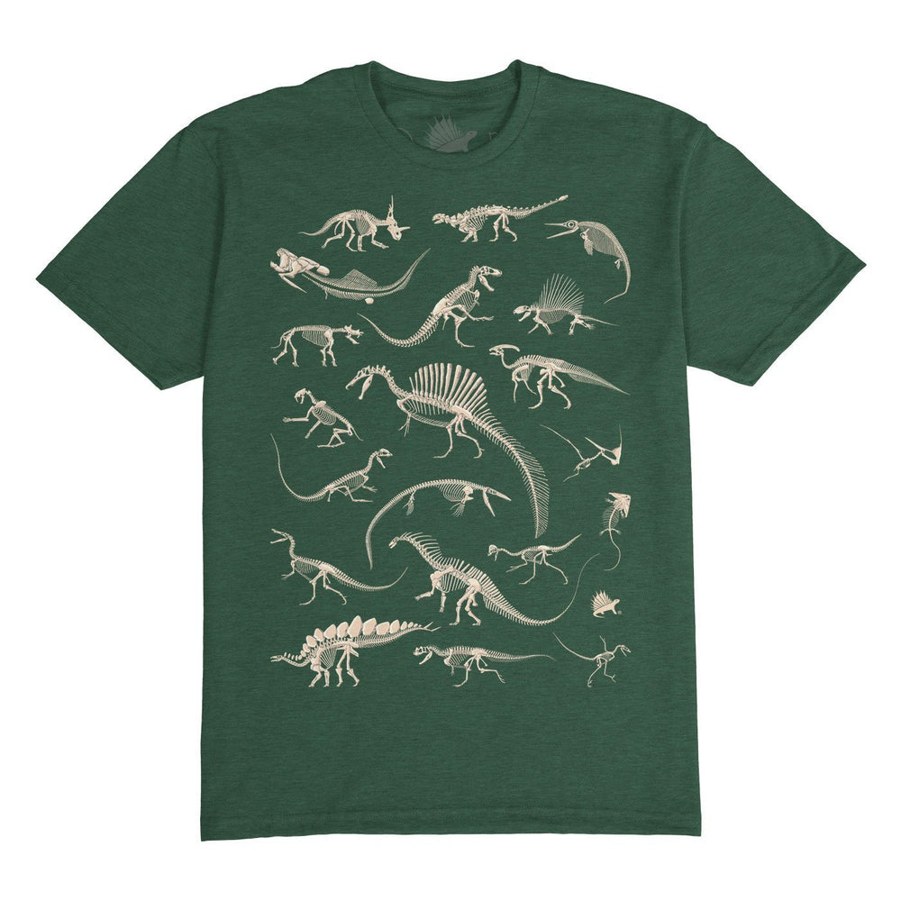 Fossil Frenzy™ Paleontology Adult T-Shirt Forest Green - Permia