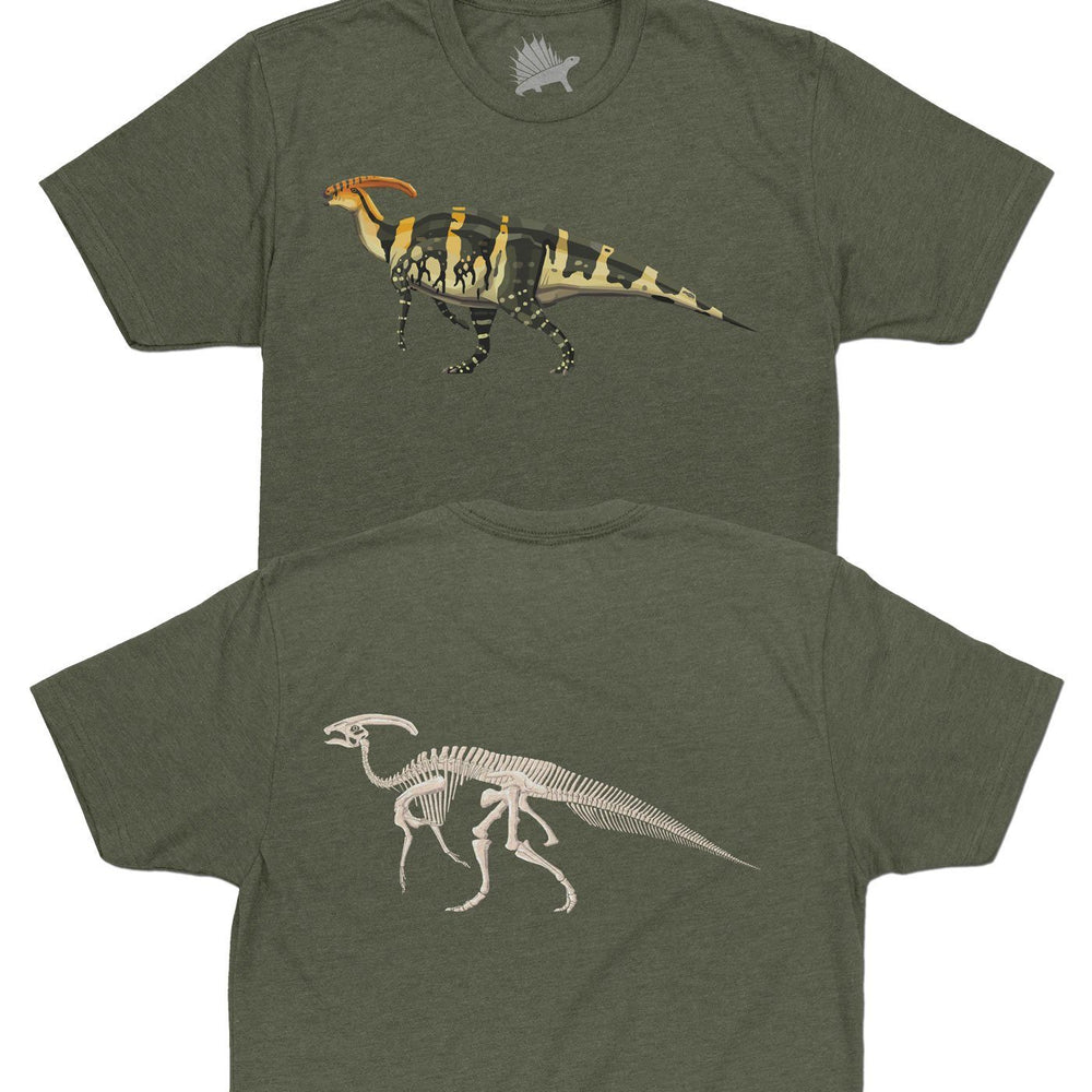 Parasaurolophus Fossil Fusion™ Adult Dinosaur T-Shirt Military Green - Permia