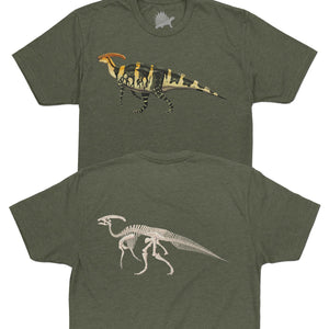 Parasaurolophus Fossil Fusion Adult Dinosaur T-Shirt Military Green - Permia