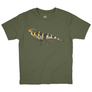 Parasaurolophus Fossil Fusion Youth Dinosaur T-Shirt Military Green - Permia
