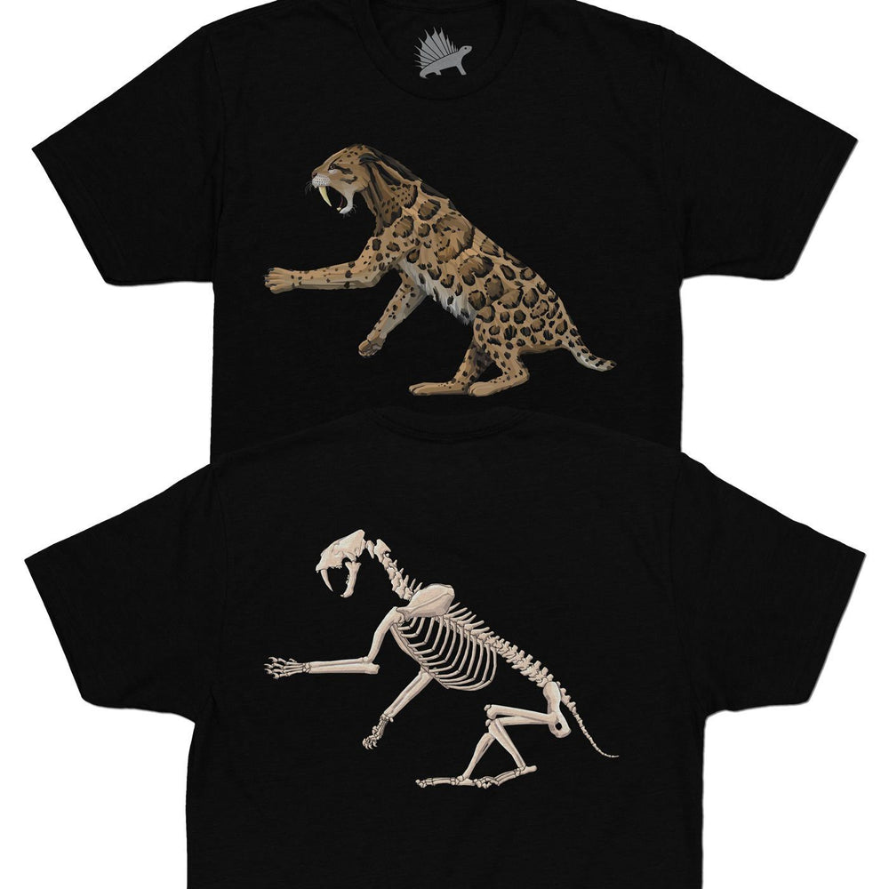 Smilodon Fossil Fusion™ Adult Saber-Toothed Cat T-Shirt Black - Permia