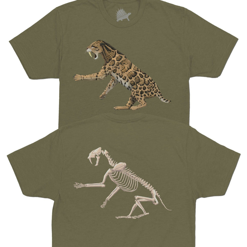 Smilodon Fossil Fusion Adult Dinosaur T-Shirt Olive - Permia